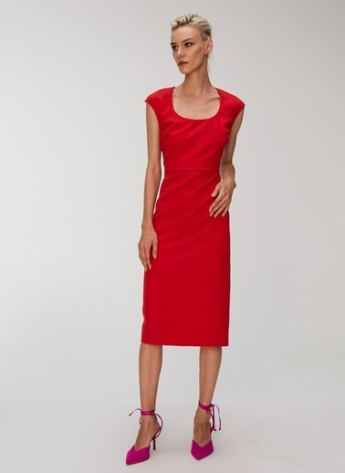 People By Fabrika Yaka Detaylı Elbise Kırmızı